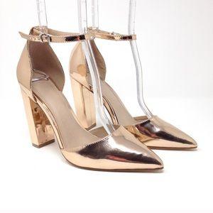 ASOS rose gold chunky heel pointed toe heels